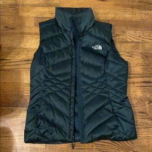 Forest Green north face puffy vest